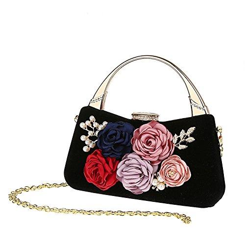 Damen Tasche Handtasche Elegant Abendtasche Blüte Clutch Handgelenkstaschen Für Party Ball Hochzeit (Schwarz)