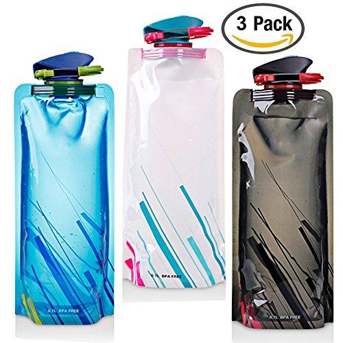 Aufrecht Reise-set (700ML Faltbare Wasserflaschen Set von 3 mit CE, ROHS Zertifikate, FLYING Flexible Zusammenklappbare flexible wiederverwendbare Wasserflasche zum Wandern, Abenteuer, Reisen.)