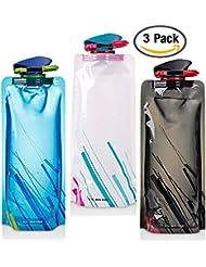 700ML sistema de botellas de agua plegable de 3 con CE, ROHS Certificados, FLYING_WE Plegable flexible botella de agua reutilizable para senderismo, aventuras, viajes.