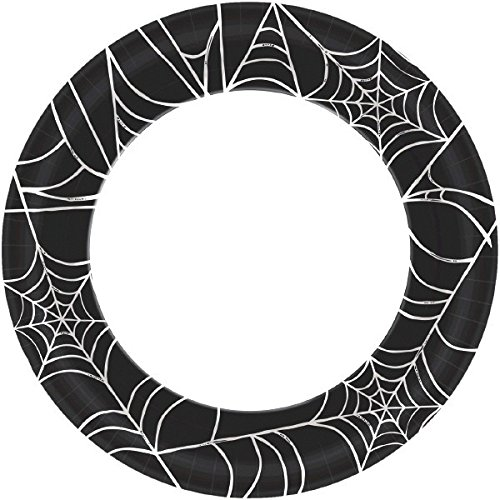 Amscan Spooky Halloween Party Spider Web Round Dinner Paper Flache Tableware, black/white, 10