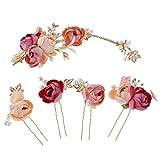 Sharplace 5pcs Blumen Haarnadeln Blüte Hochzeit Braut Haarschmuck Blumenhaarnadel Kommunion Haarpins Brautschmuck Duttnadeln