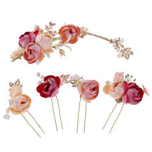 IPOTCH Hochzeit Haarnadeln Blumen Haarklammer Haarband Braut Haarschmuck Kopfschmuck für Brautfrisur Kommunion Konfirmation Taufe Party