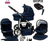 Chilly Kids Dino Kinderwagen Safety-Set (Autositz & ISOFIX Basis, Regenschutz, Moskitonetz, Getränkehalter, Schwenkräder) 26 Marine & Blau