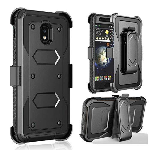 J. West Galaxy J32018Fall, Galaxy J3Emerge 2018Fall, Galaxy J3Star Fall, Galaxy Express/AMP Prime 3Fall, Full Body Schutzhülle mit Gürtelclip für Samsung Galaxy J32018, schwarz Sprint Handy-handsets
