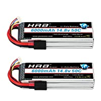 HRB 2PCS 14.8V 6000mAh 4S Lipo Battery Pack 50C with Traxxas TRX Plug for RC Airplane, F550 600,RC Helicopter, RC Car/Truck, RC Boat,Traxxas X-Maxx 8S