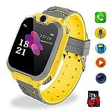Bambini Game Smartwatch- Music Orologio Smart Phone con SIM Card Camera 7 tipi di giochi Touch Screen Learning Giocattoli Regali di Ragazzi e Ragazze Compleanno -Include scheda SD da 1 GB, Giallo