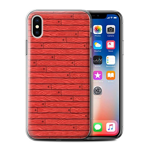 Stuff4 Gel TPU Hülle / Case für Apple iPhone X/10 / Türkis Muster / Holz-Muster Kollektion Rot