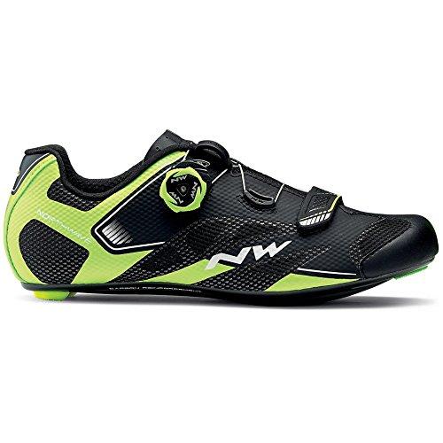 Zapatillas de bicicleta de carretera Northwave Sonic 2 Plus Black / Neon Yellow / White, Tamaño:gr. 42