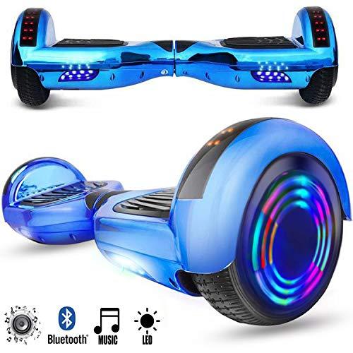 magic vida skateboard elettrico 6.5 pollici bluetooth power 700w con due barre led monopattini elettrici autobilanciati di buona qualità per bambini e adulti(cromo blu)