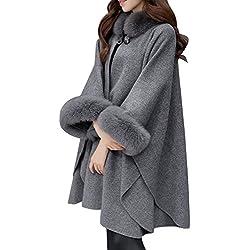LQQSTORE♥Cappotto da Donna♥Donna Autunno Inverno Elegante Puro Colore  Manica Lunga Collo di 3286bb16db6