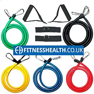 FH Resistance Bands | Home Gym Workout | Exercise Bands | Toning Equipment | Fitness Tubes | Pilates | Yoga| p90x | p90x2 | Total Weight 160lbs by Fitness Health