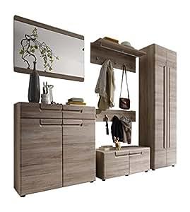 trendteam ml92390 garderoben set garderobe 6 teilig eiche san remo hell nachbildung bxhxt. Black Bedroom Furniture Sets. Home Design Ideas