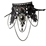 BESTIM INCUK Choker Necklace Women's Punk Style Gothic Black Lace Tassels Tattoo Choker Chain Bead Pendant Necklace for Wedding Party