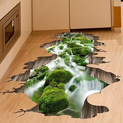 12shage 3D Stream Boden Wandaufkleber Vinyl Kunst Wohnzimmer Dekor