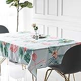 Drizzle Nappe de Table Flamingo Pattern Plantes Palm Feuille Verte Tissu Lavable Entretien Résistant Aux Taches Rectangulaire Tableau La Cuisine (51 * 51in/130 * 130cm)