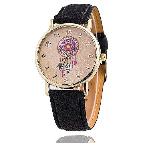 VANKER Banda de cuero de la nueva manera muchacha de las mujeres de la India Dreamcatcher imitación de cuarzo reloj de pulsera Color: Negro