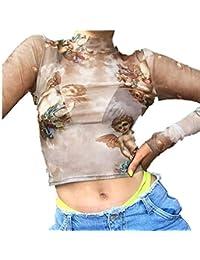 Overdose Camiseta de Las Mujeres ángel Impreso Delgado Flaco Casual Ajustado Transparente Mini Tops Blusa de