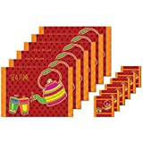 Ghar Saaz- Polyester Coated (Durable) Reversible Kitchen & Dining Table Table Mat Set/Place Mat Set With Coasters - Set Of 6 Pcs (Multicolour) (High Quality Polyester)