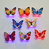 Hongrun Luz Nocturna Mariposa 7 Led Emisores De Luz De Color 3D Simulación Wall-Habitación Infantil Dormitorio Salón Decoración De Fondo, 8 Sólo
