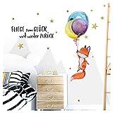 Little Deco Wandsticker Fuchs mit Ballons und Spruch Fliege zum Glück I M - 82 x 47 cm (BxH) I Kinderzimmer Aufkleber Wandaufkleber Babyzimmer Jungen Wandtattoo DL278