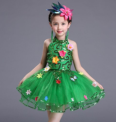 Gruppe 100 Kostüm - HUOFEINIAO-Tanzkleidung Grüne Prinzessin Röcke Pompon Kleid Tanz Kostüme Kinder Chor Blumen Fee Gruppe, 100cm, Blue