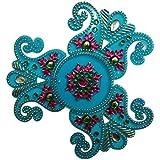 Buy Beautiful Peacock Designed Acrylic Light Blue Rangoli Kolam Decorated With Multi Coloured Stones - 4 Pieces Set - B0764B44L7