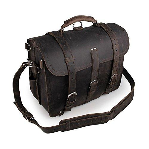 Yimidear® Männer echtes Leder-Schulter-Beutel-Aktenkoffer-Kurier-Taschen-Laptop-Tasche mit Top Handle (Black) Gray