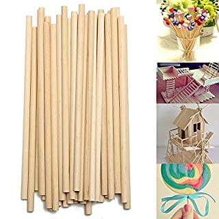 BAAQII 100pcs 150mm Round Wooden Lollipop Lolly Sticks Cake Dowel for DIY Food Craft