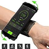 Sport Armband Fitness Universell Handyhülle 180° Drehbarer Handyhalter passend iPhone X / 8 Plus / 8 / 7 Plus / 6 Plus / 6, Kompatibel mit Samsung Galaxy S8 / S8 Plus / S7 / S7 Edge für Joggen Laufen Radfahren Wandern-Schwarz