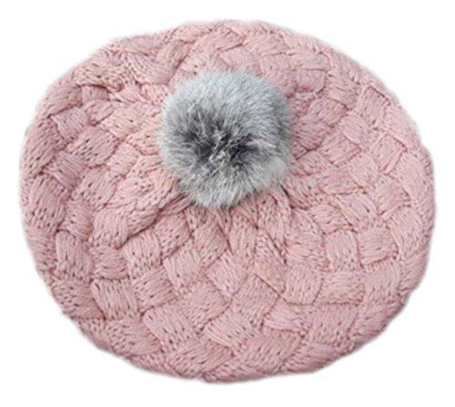 Tendre d'hiver en peluche boule Chapeau laine chaude/chapeau Pour 1-6 ans, Rose