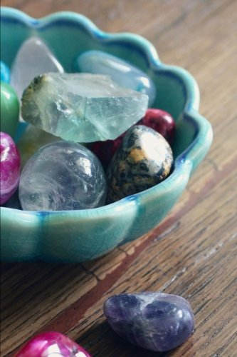 Crystal Gem Stones in a Blue Bowl Journal: 150 Page Lined Notebook/Diary Bowl In Crystal