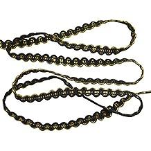 ROSENICE 0.6cm10m Trenzado Cañutillo Recortar Boda Cinta DIY Artesanía adorno Decoración del partido (Negro y oro)