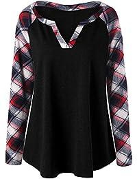 Wenyujh Damen Herbst Winter Bluse Longsleeve Shirt Pullover mit  V-Ausschnitt Karo Muster Ärmel Patch 0616f75d3b