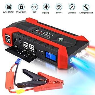 IMMEK Arrancador de Coches, 600A 20000mAh Arrancador de Coches con Pinzas Inteligentes, Carga Rápida QC3.0.Banco de Baterías con USB QC3.0 & Tipo C, Diseñado para 12V 6L Gasolina y 4L Diésel