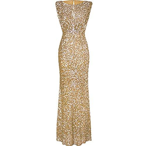 iShine™ Damen Sommer Sexy Abendkleider Cocktail Party Ärmellos pailletten - Lange Goldene Kleid