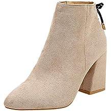 Botas de Nieve 2018 Moda Otoño Botas de Alto talón Zapatos Mujer Botines de tacón  Grueso 41801ac1c1e9