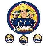 Tortenaufleger Geburtstag Tortenbild Zuckerbild Oblate Motiv: Feuerwehrmann Sam 22 (Zuckerpapier)