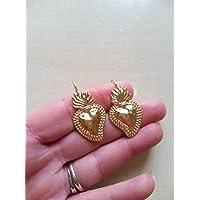 regalo di san valentino coppia amore fidanzamento innamorati orecchini ex voto cuore sacro oro ottone sicilia barocchi eleganti milagros cuore messicano fiamma fiammeggiante religioso