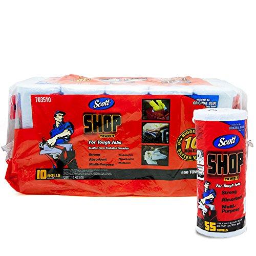 Scott Shop 10 Stück 55 Tücher pro Rolle 28 x 26 cm Bogengröße absorbiert Flüssigkeiten, Öle und Fett - 55 Fett