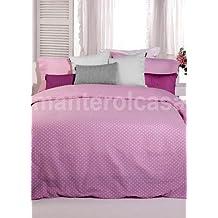 Manterol Juego de funda nordica reversible Topos Rosa para cama de matrimonio (4 piezas)