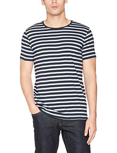 Lindbergh Herren T-Shirt Striped O-Neck Tee S/S Blau (Navy)