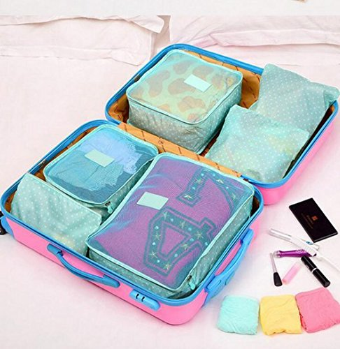 [Sponsored Products]Styleys Set Of 6 Packing Cubes Travel Organizer (Sky Blue Polka Dot)