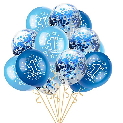 Upxiang 15 stücke 12 Zoll Konfetti Ballon Baby Ein Jahr Alt Happy Birthday Party Dekoration Ballon Schöne Achat Ballon Folie Latex Ballon (D) (Halloween Birthday Party-jahr Alt)