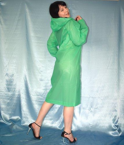 Morbido rascheliger PVC pioggia cappotto * Taglia L XL Poncho trasparente * * glanz pioggia giacca rosa rosa verde