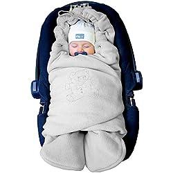 ByBoom® - Manta arrullo de invierno para bebé, es ideal para sillas de coche (p.ej. de las marcas Maxi-Cosi y Römer), para cochecitos de bebé, sillas de paseo o cunas; LA MANTA ARRULLO ORIGINAL CON EL OSO, Color:Gris