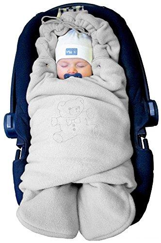 """Preisvergleich Produktbild ByBoom® - Baby Winter-Einschlagdecke """"Das Original mit dem Bären"""", Universal für Babyschale, Autositz, z.B. für Maxi-Cosi, Römer, für Kinderwagen, Buggy oder Babybett, Farbe:Grau"""