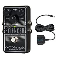 Electro-Harmonix Silencer Noise Gate with Built In Effects Loop -INCLUDES- 9V Battery AND Blucoil 9.6 Volt DC 200mA Power Supply with UK plug