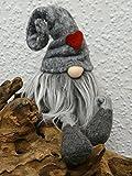 Vintage Living Süßer Deko Kantenhocker Filz Wichtel Zwerg grau mit Zipfelmütze 46 cm