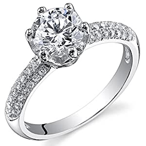 Revoni Sterling Silver Pave Round Cut Simulated Diamond Engagement Ring Size J,