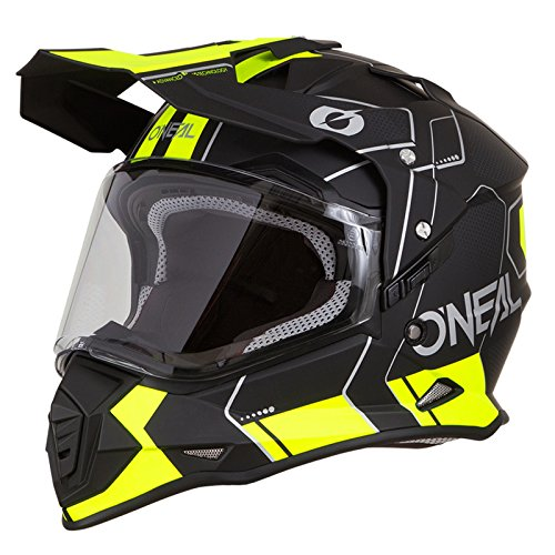 O\'Neal Sierra II Comb Motocross Motorrad Helm MX Enduro Trail Quad Cross Offroad Gelände, 0817, Farbe Schwarz Neon Gelb, Größe L